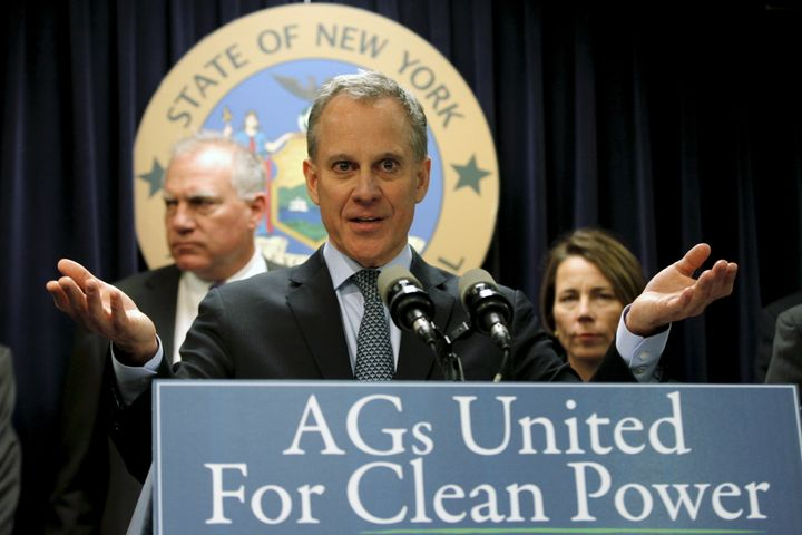 New York Attorney General Eric Schneiderman speaks at a news conference to announce a state-based effort to combat climate ch