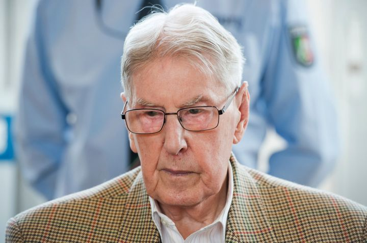 Reinhold Hanning, a 94-year-old former guard at Auschwitz death camp pictured above in April, was convictedin Germany o