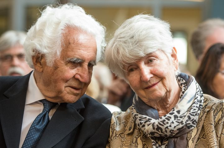 Holocaust survivors William E Glied and Hedy Bohm wait for the verdict in theReinhold Hanning trial inGermany on