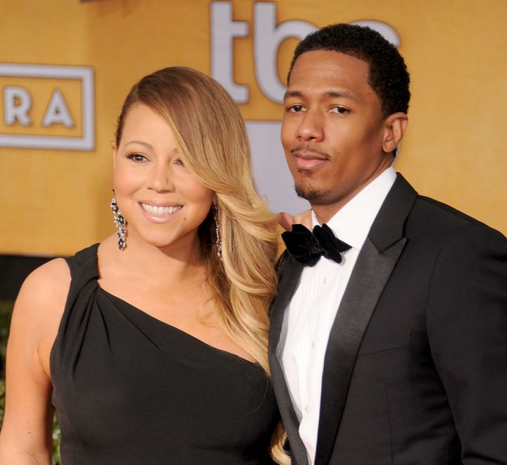 Mariah Carey and Nick Cannon arrive at the 20th Annual Screen Actors Guild Awards on Jan. 18, 2014 in Los Angeles, California
