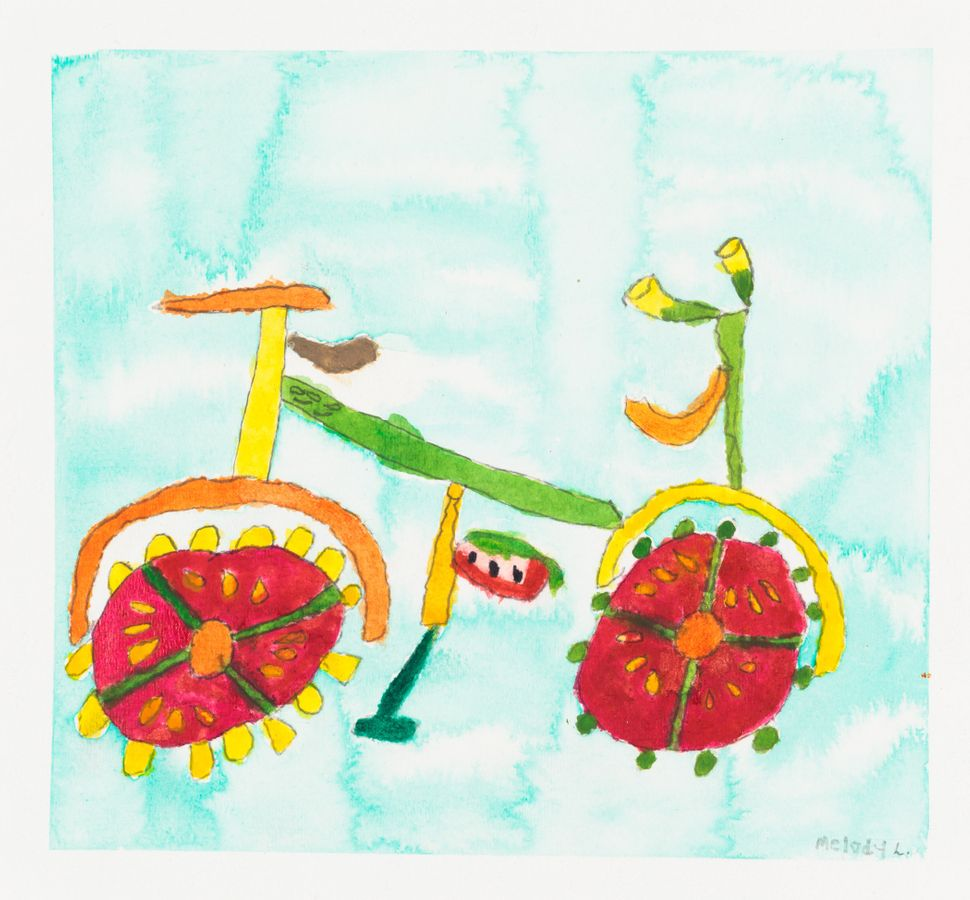 """This is my Bike for Food"" by Melody Lima, circa 2006, Creativity Explored Licensing, LLC, watercolor on paper, 10 x 11 inche"