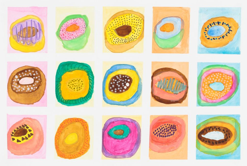 """Untitled (Donuts)"" by Ka Wai Shiu, circa 2016, Creativity Explored Licensing, LLC, watercolor and graphite on paper, 15 x 22"
