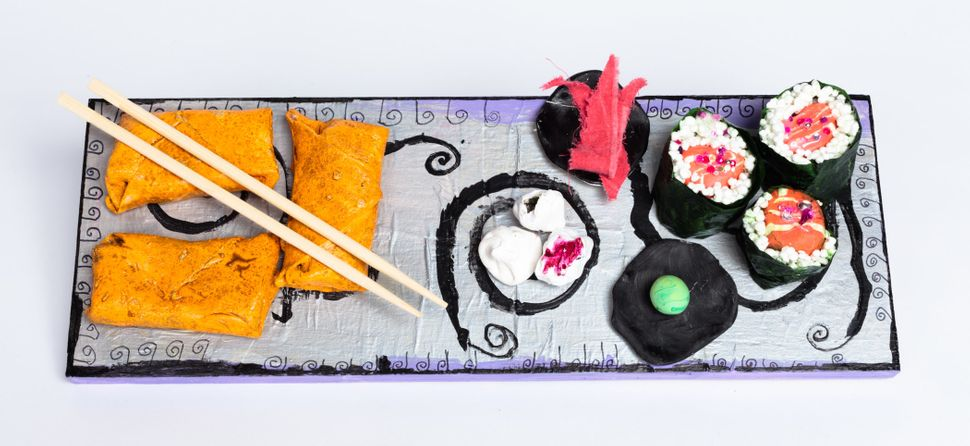 """Sushi Platter"" by Caitlyn Quibell, 2016, Creativity Explored Licensing, LLC, mixed media, 2.75 x 17.25 x 6/25 inches."