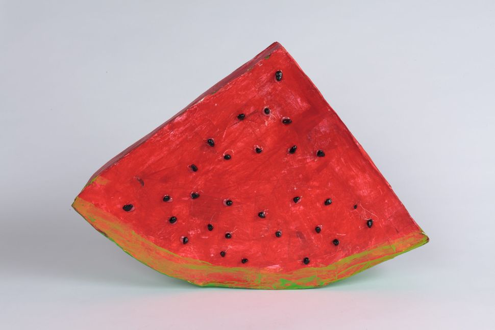 """Watermelon"" by Kaocrew Kakabutra, circa 2016, Creativity Explored Licensing, LLC, mixed media sculpture, 15.25 x 21.75 x 3.7"