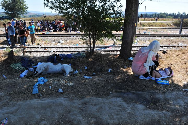 A woman changes her baby's diaper, as migrants wait at the Greek-Macedonian border near the town of Idomeni, Greece.