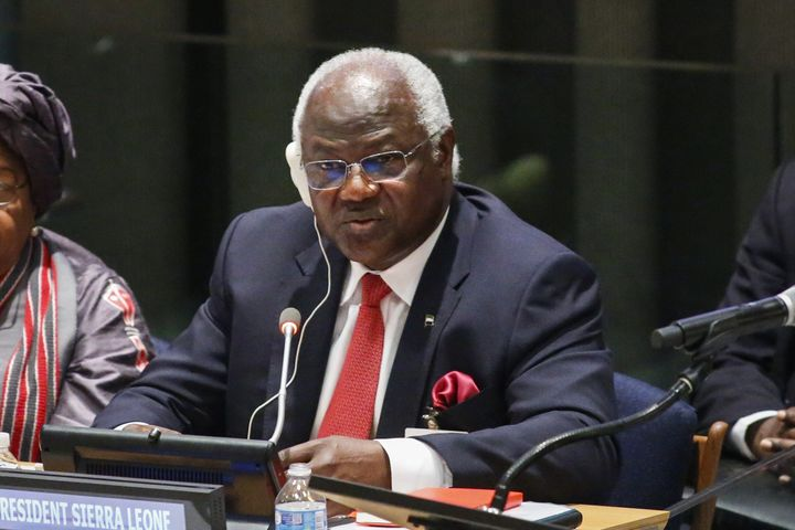 Sierra Leone's President Ernest Bai Koroma speaks to UN members during an International Ebola Recovery Conference.