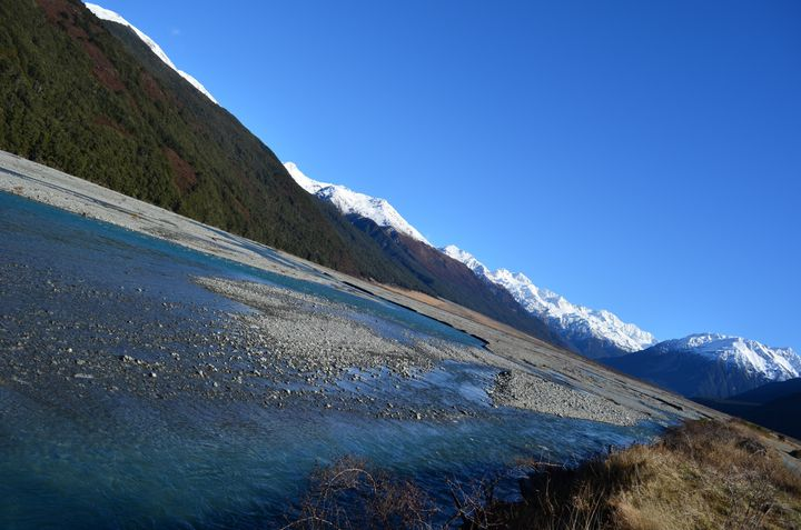 <p>New Zealand's Arthur's Pass. Forged through the mountains to link Christchurch and Hokitika. There's gold in these icy waters - as you will know if you have read Eleanor Catton's 'The Luminaries'. </p>