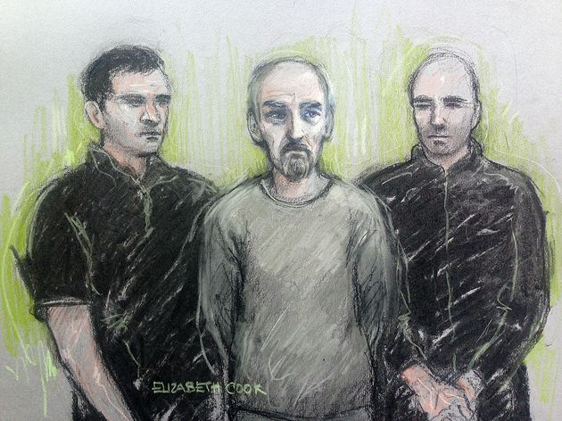 Court artist sketch of Thomas Mair (centre) at Westminster Magistrates' Court in London on