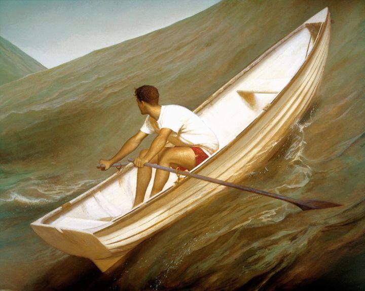 Bo Bartlett, <i>Lifeboat,&nbsp;</i>1998, Oil on Linen, 80 x 100
