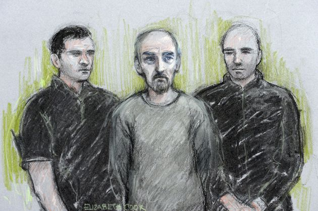 Court artist sketch of Thomas Mair (centre) at Westminster Magistrates'