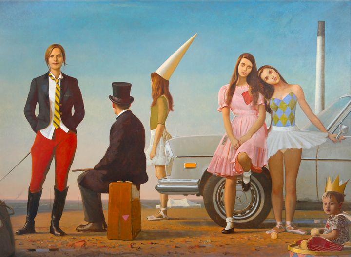 Bo Bartlett, <i>The Samaritans</i>, 2014, Oil on linen, 88 x 120 inches<br>