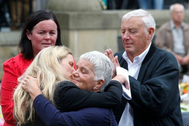 Kim Leadbeater hugs her mother, Jean