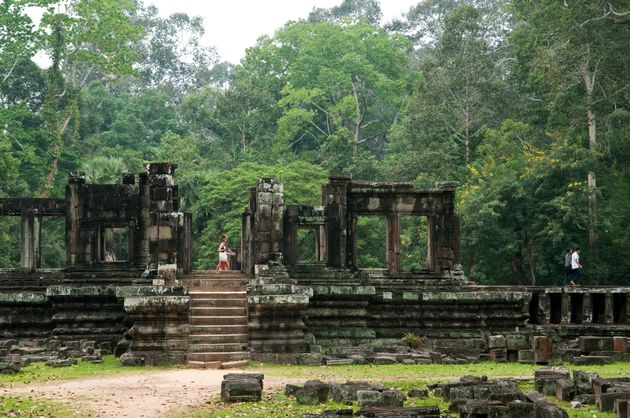 The cities surrounding the temple complex, pictured, are believed to have been the largest in the world...