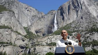 U.S. President Barack Obama speaks  about the National Park Service at Yosemite National Park, California, U.S., June 18, 2016.      REUTERS/Joshua Roberts     TPX IMAGES OF THE DAY