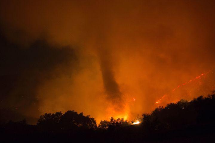A fire whirl, or fire tornado, seen onJune 18, 2016 at the Sherpa Fire near Santa Barbara, California.