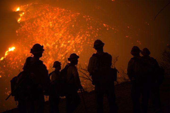 Firefighters battle the Sherpa Fire near Santa Barbara, California, on June 17, 2016.
