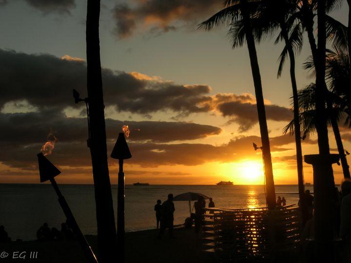 <em>Sunset on Waikiki Beach</em>