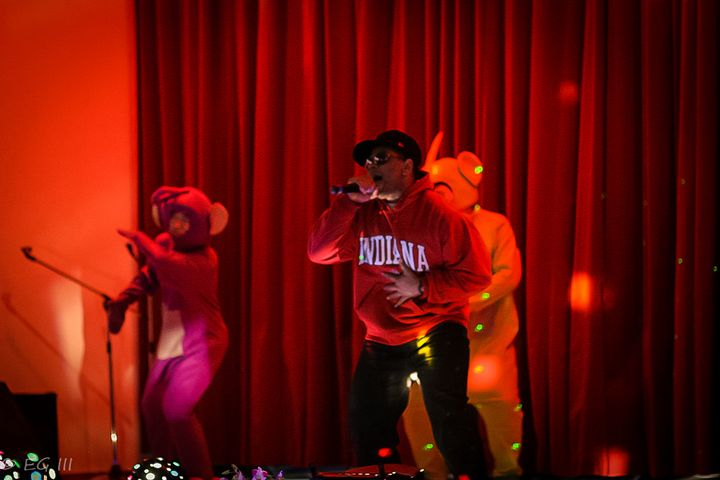 <em>Performing live with teletubby backup dancers </em><strong>OR</strong>
