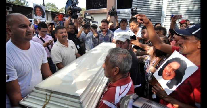 People carry the coffin of indigenous leader and environmental activist Berta Caceres after a five-hour autopsy at the Forens