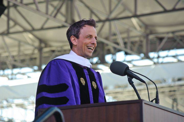 Seth Meyers delivers the keynote address at the Northwestern University commencement at Ryan Field on Friday in Evanston, Ill