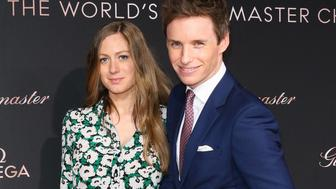 Actor Eddie Redmayne (R) and his Wife Hannah Redmayne (L) attends the OMEGA Celebration for the launch of the Globemast at Mack Sennett Studios on March 1, 2016 in Los Angeles, California.
