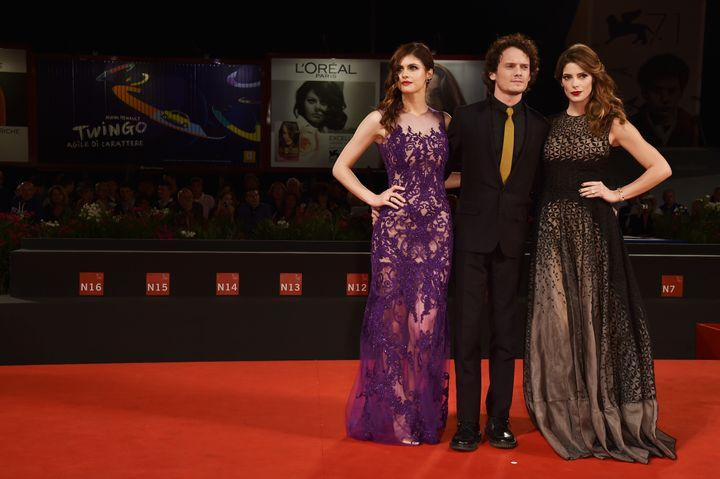 "Yelchin with his ""Burying the Ex"" co-stars Alexandra Daddario and Ashley Greene at the 71st Venice Film Festival on"