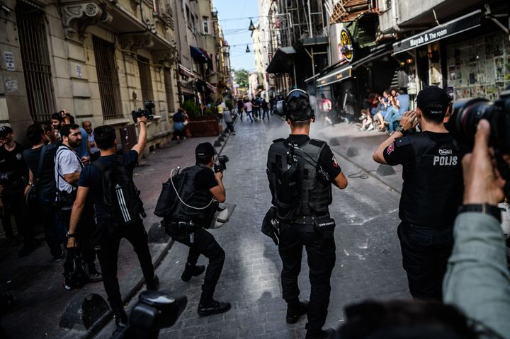 Several hundred police surrounded the main Taksim Square -- where all demonstrations have been banned since 2013 -- to preven
