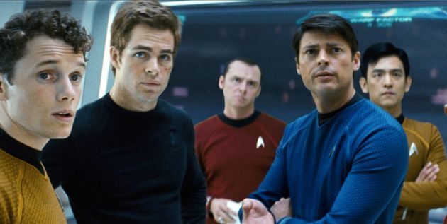 Anton Yelchin, left, with Chris Pine and his other Trekkie