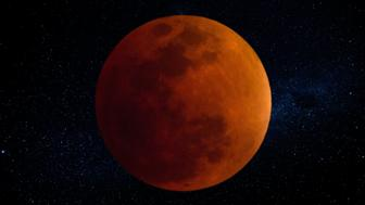 This full lunar eclipse took place in September 2015. Lunar eclipse so-called 'blood moon'.