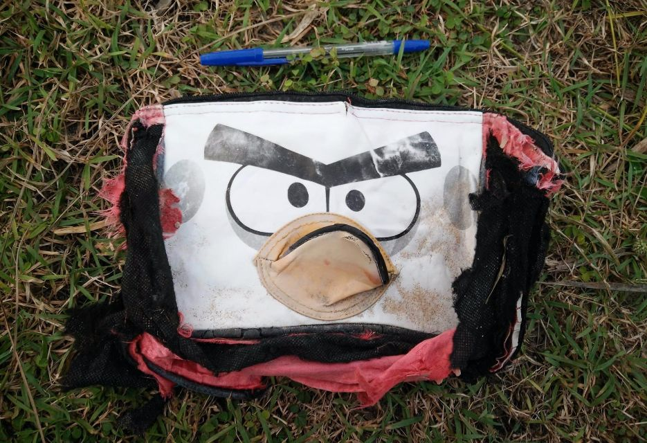 The objects photographed by Gibson include an 'Angry Birds' bag, pictured here with a pen for