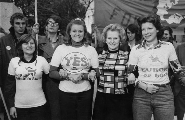Margaret Thatcher lends her support to 'Keep Britain in Europe' campaigners in Parliament Square in June