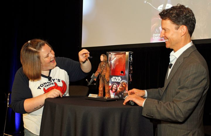 Hasbro CEO Brian Goldner presented the Texas mom with the toy which features her face as well as some of her catchphrases.