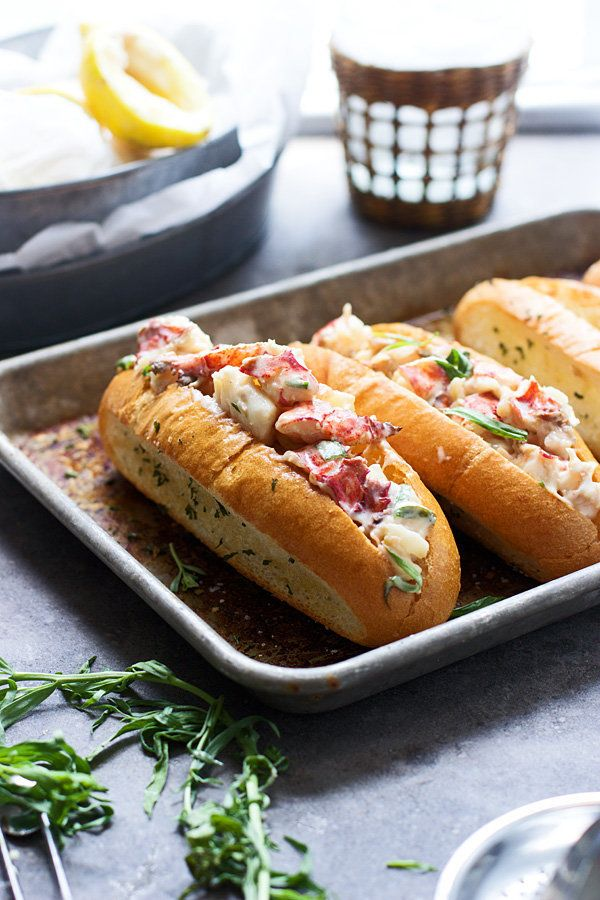 """<strong>Get the <a href=""""http://www.cookingforkeeps.com/2015/06/08/tarragon-and-lemon-lobster-rolls-with-garlic-bread-hoagies"""