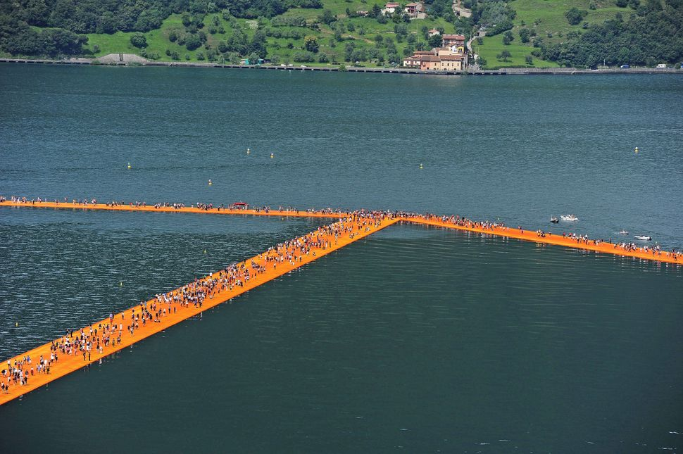 "A view of the installation ""The Floating Piers"" on the Iseo Lake by the Bulgarian artist Christo Vladimirov Yavachev. known a"