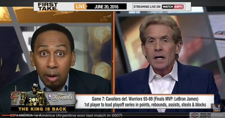 "Skip Bayless and Stephen A. Smith debate 2016 Finals MVP Award on ""First Take"" June 20."