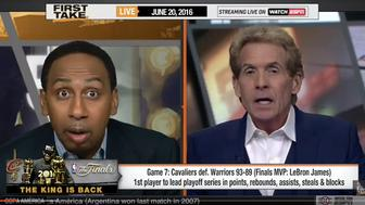 "Skip Bayless and Stephen A Smith debate Finals MVP on ""First Take,"" June 20th, 2016"