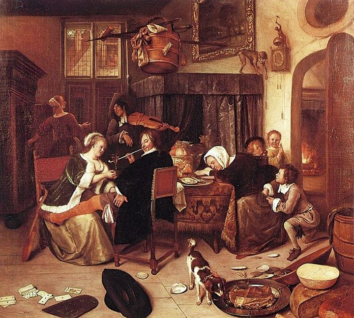 FIGURE 1-8. Jan Steen, The Dissolute Household, ca. 1668. Wellington Museum, London.