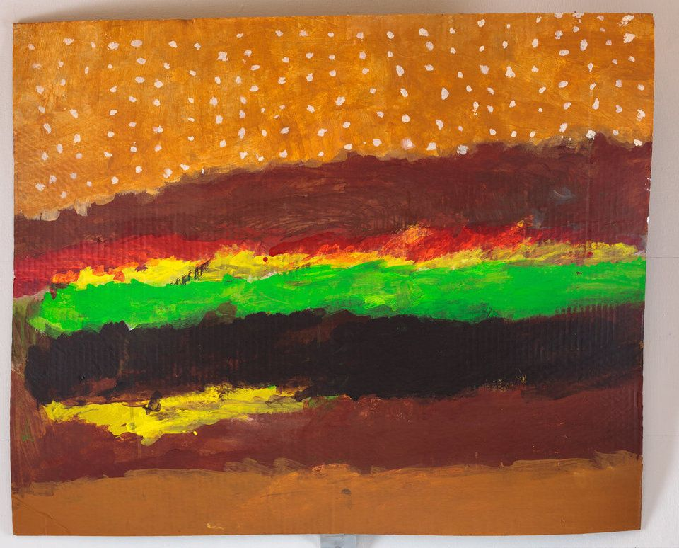 """Hamburger"" by Jay Herndon, circa 2016, Creativity Explored Licensing, LLC, acrylic on cardboard, 27 x 33.5 inches."