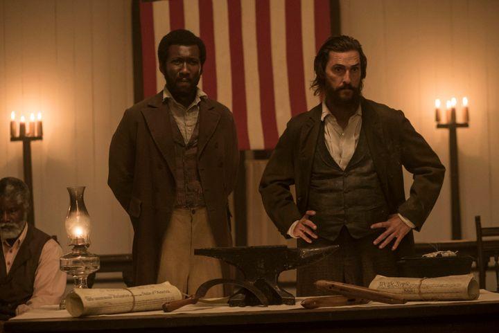 "Mahershala Ali and Matthew McConaughey in ""€œFree State of Jones."""