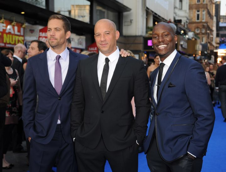 "The late Paul Walker, Vin Diesel, and Tyrese Gibson -- three of the main stars of the ""Fast and the Furious"" movie franchise."