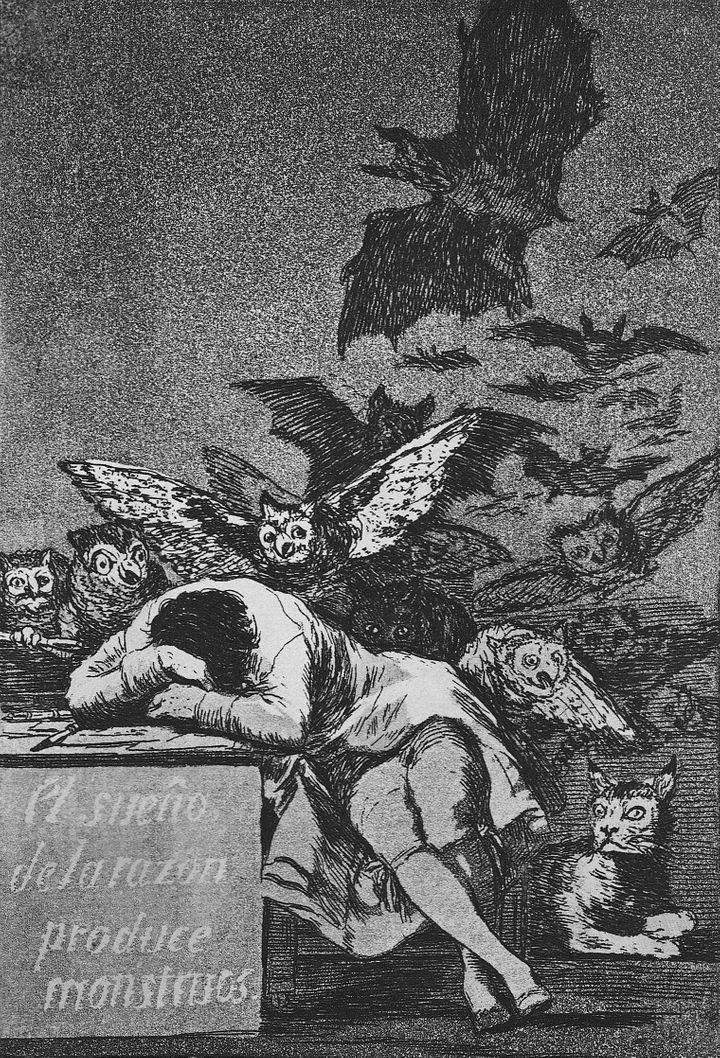 FIGURE 1-15. Francisco Jose de Goya, The Sleep of Reason Produces Monsters, #43, 1799. From Los Caprichos.