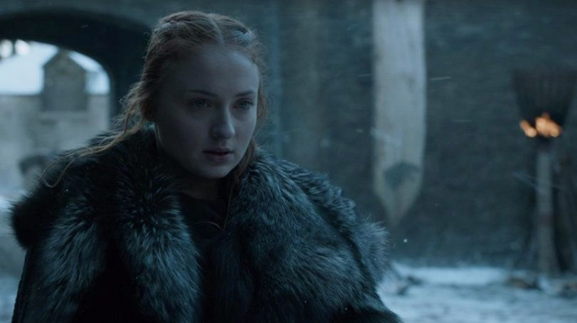 Sophie Turner as Sansa Stark, Queen in the North.