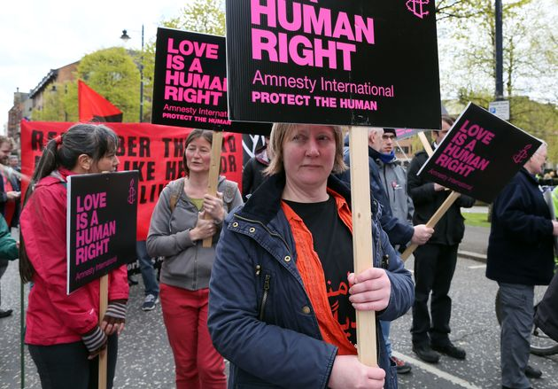 Pro-choice campaigners take part in a demonstration through Belfast city centre in April