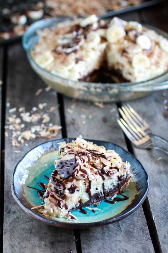"<strong>Get the <a href=""http://www.halfbakedharvest.com/coconut-banana-cream-chocolate-truffle-pie/"" target=""_blank"">Coconut"
