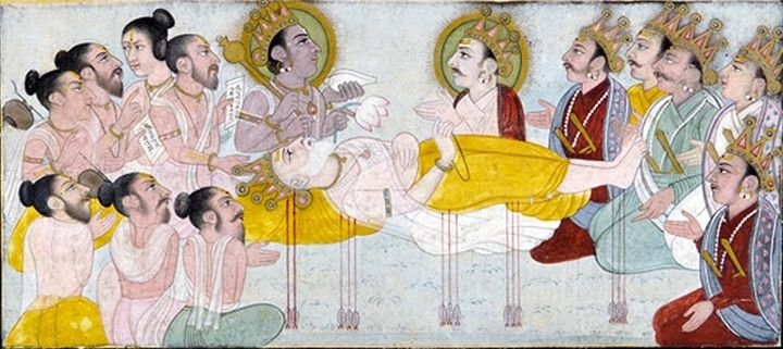 FIGURE 1-18. The Death of Bhisma, from Mahabharata, ca. 18th century. Smithsonian Institute, Washington, DC.