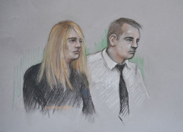 Court artist sketch of Jennie Gray and Ben Butler in the dock at the Old Bailey in