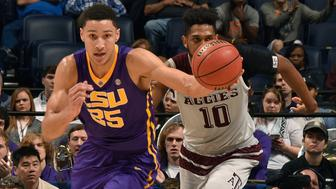 NASHVILLE, TENNESSEE - MARCH 12:  Ben Simmons #25 of the LSU Tigers plays against Tonny Trocha-Morelos #10 of the Texas A&M Aggies in an SEC Basketball Tournament Semifinals game at Bridgestone Arena on March 12, 2016 in Nashville, Tennessee.  (Photo by Frederick Breedon/Getty Images)