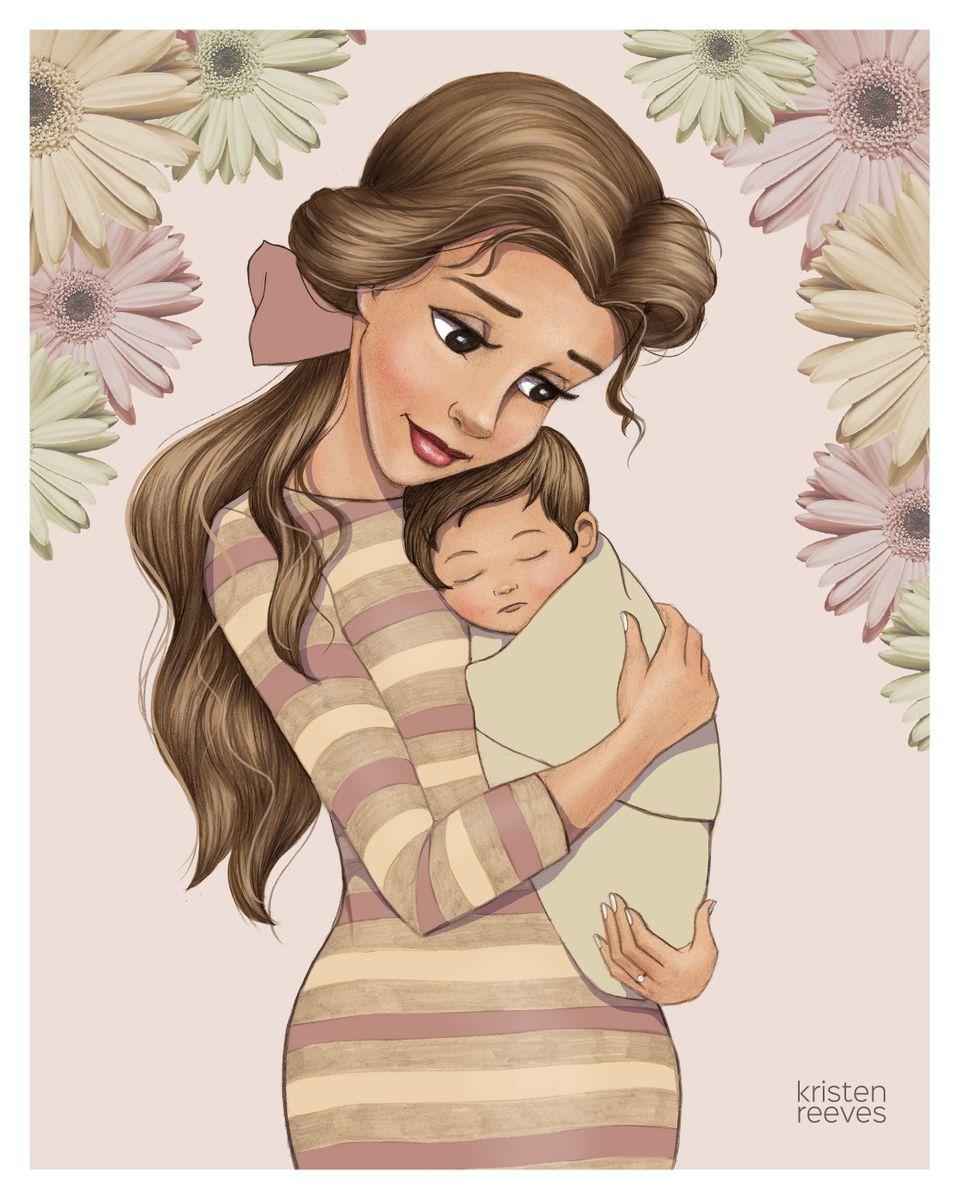 Disney Princesses Become New Moms In Sweet Series Of Drawings