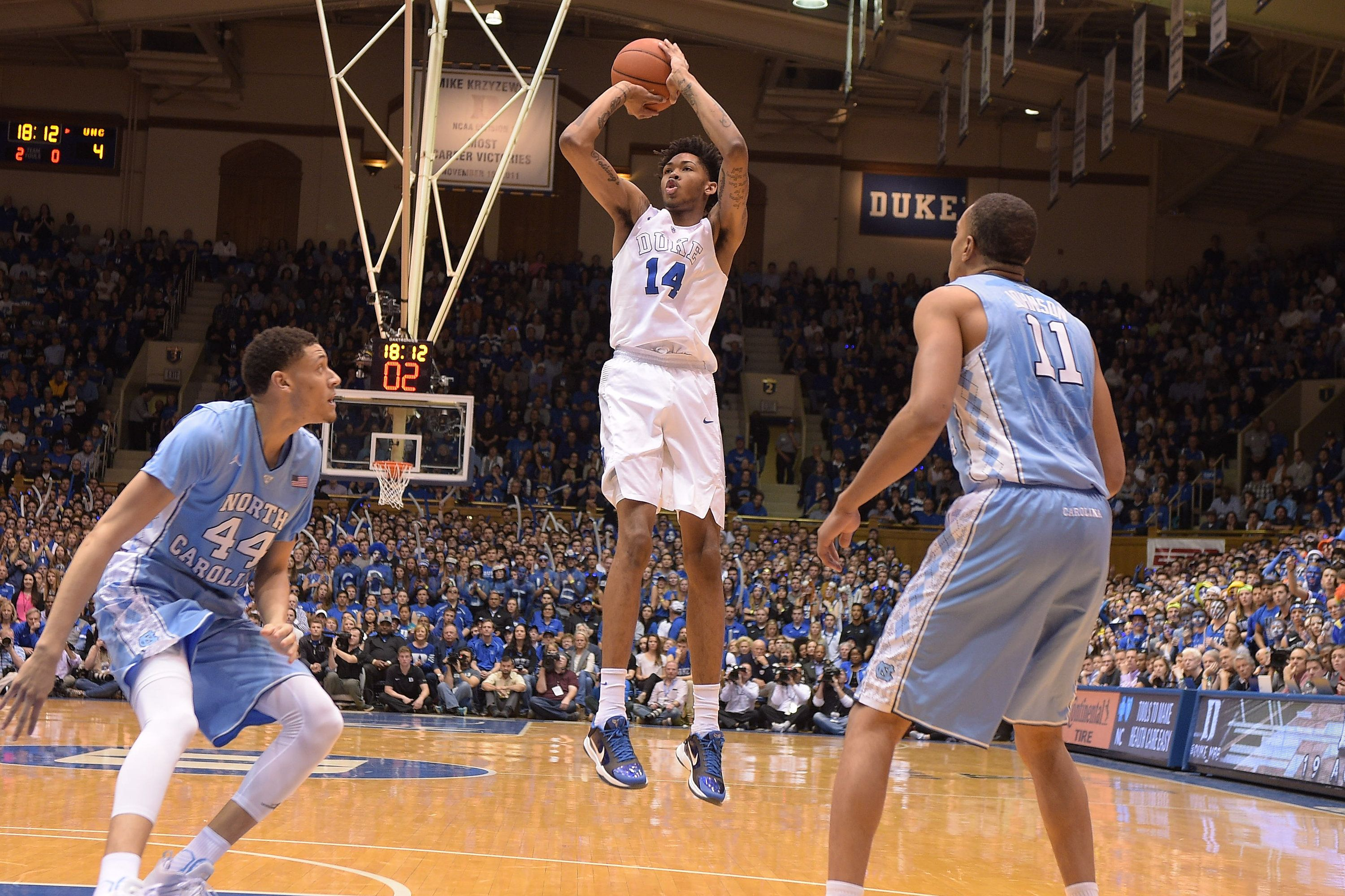DURHAM, NC - MARCH 05: Brandon Ingram #14 of the Duke Blue Devils puts up a shot against the North Carolina Tar Heels at Cameron Indoor Stadium on March 5, 2016 in Durham, North Carolina. (Photo by Lance King/Getty Images)