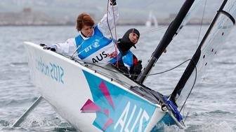 Australia's Liesl Tesch (L) and Daniel Fitzgibbon compete in the Two-Person Keelboat (SKUD18)sailing competition during the London 2012 Paralympic Games in Weymouth and Portland, southern England September 2, 2012.   REUTERS/Luke MacGregor/File photo